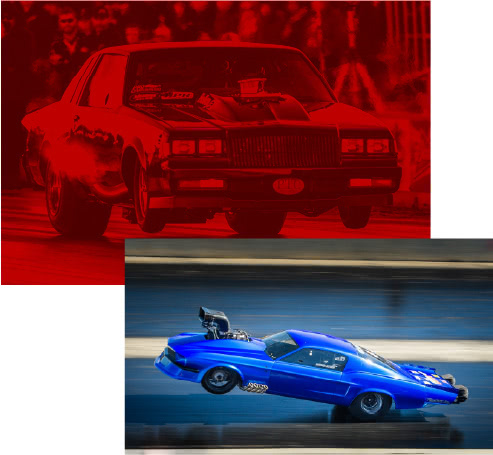 drag racing cars on tracks with front wheels off track